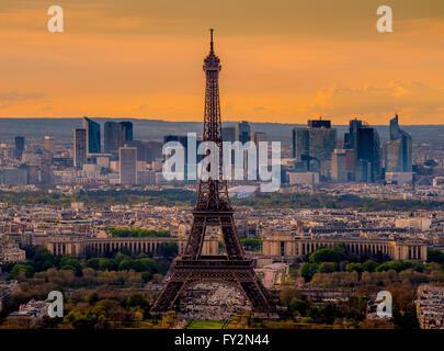 Sunset over Paris with Eiffel Tower, Paris, France - Stock Photo