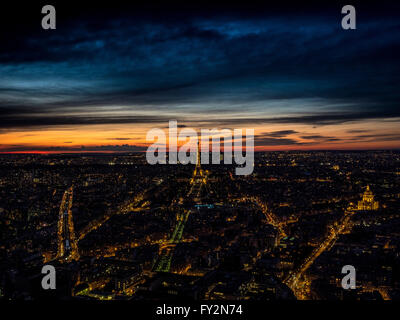 Evening aerial view over cityscape with Eiffel Tower, Paris, France. - Stock Photo