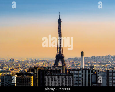 Eiffel Tower, Paris, France, early morning. - Stock Photo