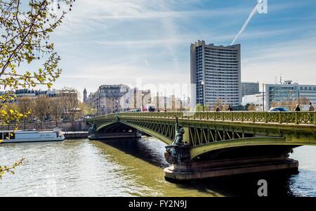 Pont Mirabeau, over the river Seine, Paris, France. - Stock Photo