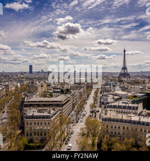 View towards the Eiffel Tower and Montparnasse Tower from the Arc de Triomphe, Paris, France. - Stock Photo