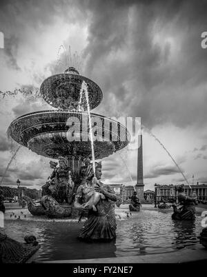 Fountains and Obelisk, Place de la Concorde, Paris, France. - Stock Photo