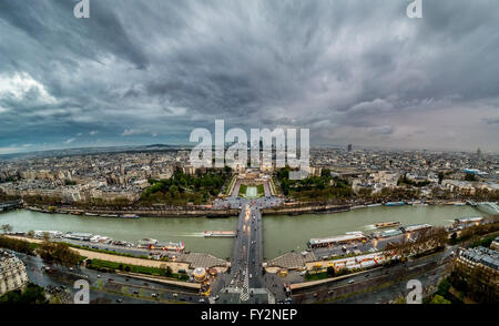 View from the Eiffel Tower towards the river Seine and Trocadero in Paris, France. - Stock Photo