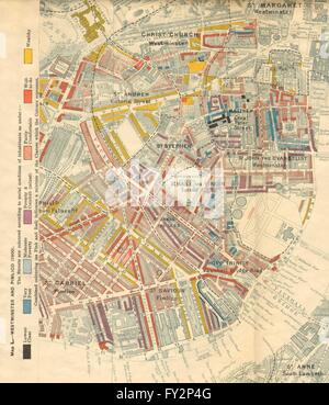 CHARLES BOOTH POVERTY MAP: Westminster Pimlico Victoria, 1902 - Stock Photo