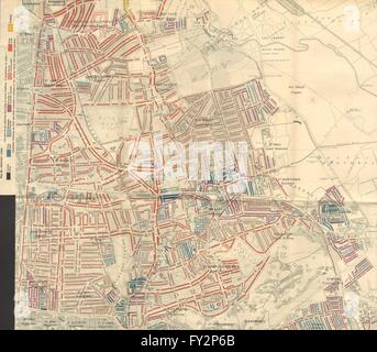HACKNEY: Charles Booth poverty map:Clapton Dalston Homerton Stoke Newington 1902 - Stock Photo