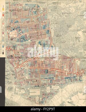 CHARLES BOOTH POVERTY MAP: Wapping Whitechapel Shoreditch Bethnal Green 1902 - Stock Photo