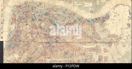 S LONDON: Charles Booth poverty map: Bermondsey Lambeth Rotherhithe Borough 1902 - Stock Photo