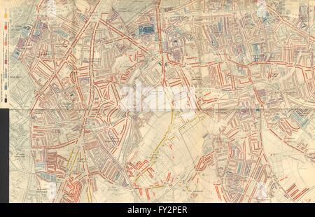SOUTHWARK: Charles Booth poverty map: Dulwich Camberwell Peckham Brixton 1902 - Stock Photo