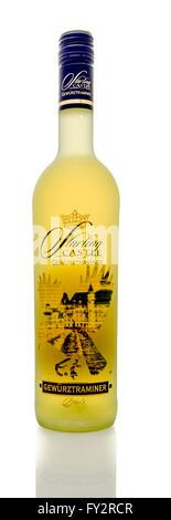 Winneconne, WI - 16 March 2016:  A bottle of Starling Castle wine in gewurztraminer flavor on a white background. - Stock Photo