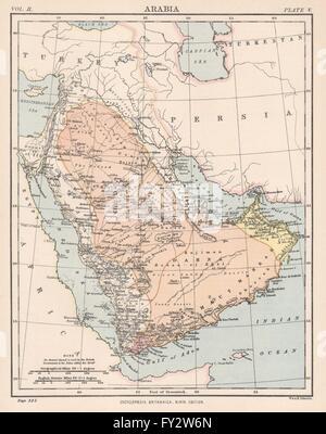ARABIA: Saudi Arabia Oman Aden Yemen UAE Mecca Medina, 1898 antique map - Stock Photo