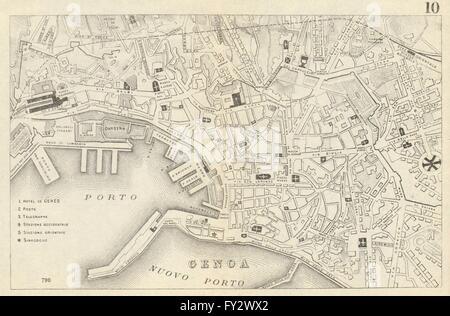 GENOA GENOVA GÊNES: Antique town plan. City map. Italy. BRADSHAW, 1890 - Stock Photo