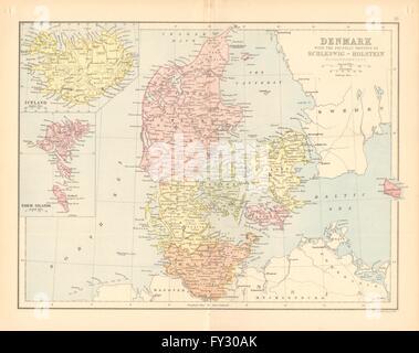 DENMARK Railways Iceland SchleswigHolstein BARTHOLOMEW 1878