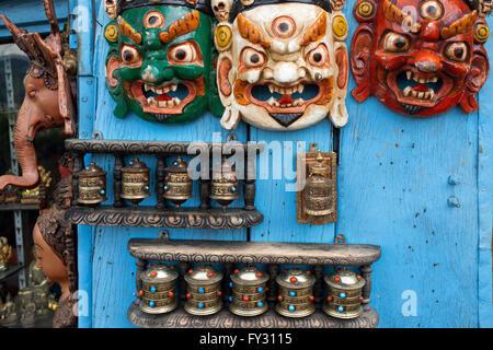 Trinkets for sale, Monkey Temple, Swayambhunath, Kathmandu, Nepal - Stock Photo
