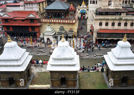 Ceremonial cremation place, Ghats, of Pashupatinath Temple at the holy Bagmati river, Kathmandu, Nepal - Stock Photo