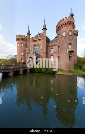 Castle Moyland at Bedburg-Hau near Kleve in the Lower Rhine region, view from the south-east - Stock Photo