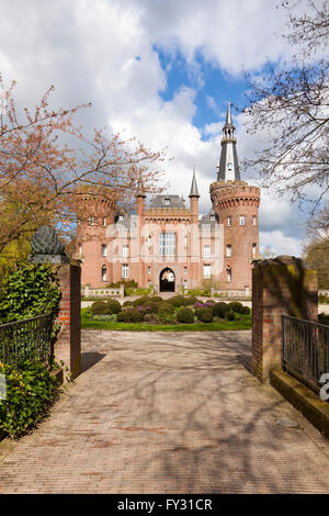 Castle Moyland at Bedburg-Hau near Kleve in the Lower Rhine region, view from the south - Stock Photo