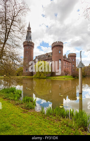 Castle Moyland at Bedburg-Hau near Kleve in the Lower Rhine region, view from the north-west - Stock Photo