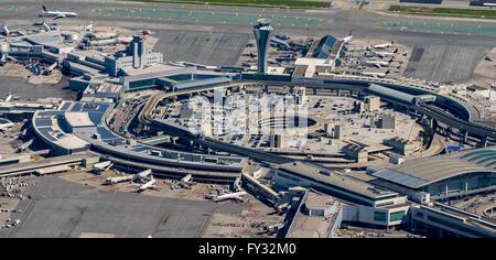 Aerial view, San Francisco International Airport, Bay Area, San Francisco, California, USA - Stock Photo