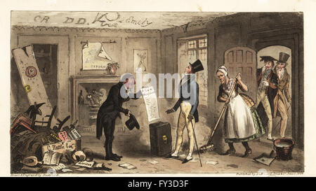 New student moving into filthy rooms in a college at Oxford University. College Comforts, a Freshman taking possession - Stock Photo