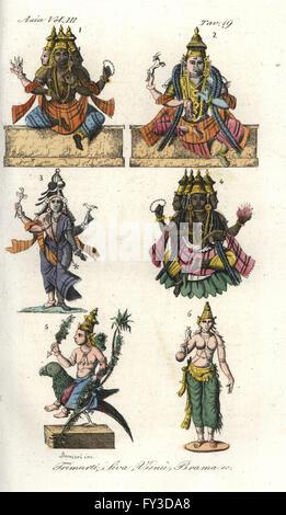 Hindu gods including Trimurti, Shiva, Vishnu and Brahma. Handcoloured copperplate drawn and engraved by Andrea Bernieri - Stock Photo