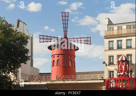 The Moulin Rouge, Montmartre, Paris, France Le Moulin Rouge, Montmartre, Paris, France - Stock Photo