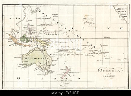 Map of Oceania and the southern Pacific by Bartolomeo Borghi, Florence, 1836. Handcoloured copperplate engraving - Stock Photo