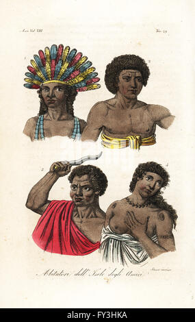 Natives of Tonga (Friendly Islands). King Poulaho in feather headdress, man in gnatoo tappa cloth, Chief Ataongo - Stock Photo