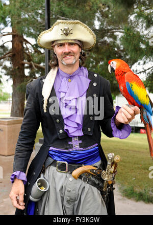 Pirate with parrot at Las Vegas Pirate Fest  at Lorenzi Park April 8-9-10, 2016 - Stock Photo