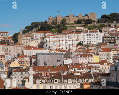 View of the city of Lisbon. Sao Jorge Castle, Alfama, Mouraria - Stock Photo