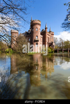 Castle Moyland at Bedburg-Hau near Kleve in the Lower Rhine region, view from South-West - Stock Photo