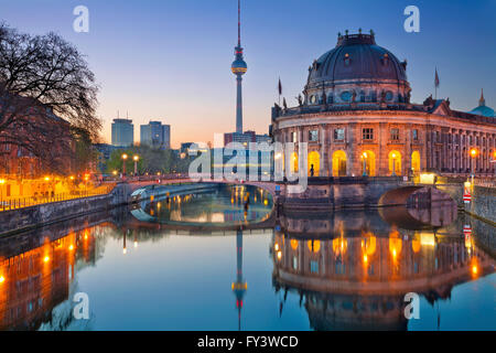 Berlin. Image of Museum Island and TV Tower in Berlin, Germany. - Stock Photo