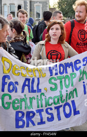 Bristol, UK. 20th April, 2016. Protest demonstration of Bristol City Council selling houses and flats by auction - Stock Photo