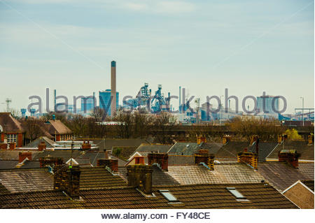Port Talbot, Wales, UK 21st April 2016. A grey day over the town of Port Talbot looking at the Tata Steel Works - Stock Photo