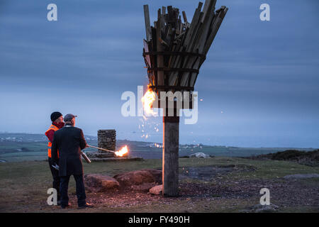 Chapel Carn Brea, nr Lands End, Cornwall, UK. 21st April 2016. The beacon to celebrate the 90th birthday of the - Stock Photo