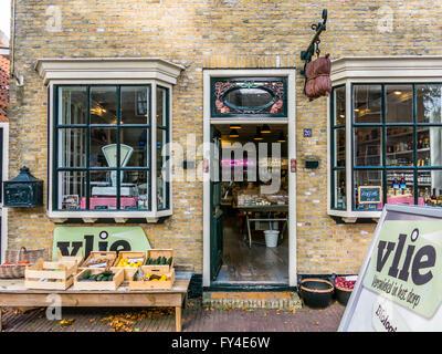 Organic food shop in Main Street of East-Vlieland town on Waddensea island Vlieland, Friesland, Netherlands - Stock Photo