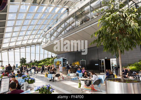 The Sky Garden observation deck on the top of the Walkie Talkie building, London - Stock Photo