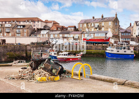 The Harbour at Seahouses, Northumberland, England, UK - Stock Photo