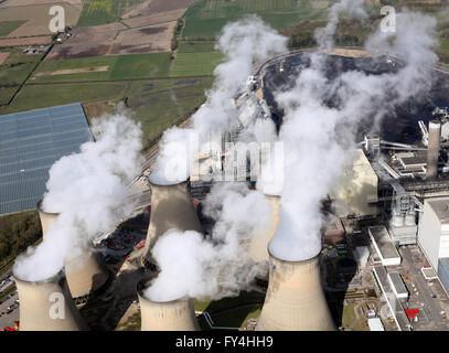 aerial view of steam from the cooling towers at Drax Power Station in Yorkshire, UK - Stock Photo
