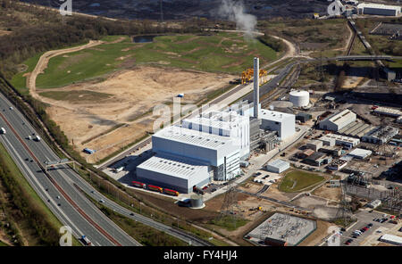 aerial view of Ferrybridge Multifuel 1 power station next to the now closed Ferrybridge C power station, Yorkshire, - Stock Photo