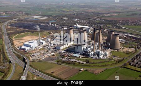 aerial view of Ferrybridge Power Station including the new Ferrybridge Multifuel 1 power plant, Yorkshire, UK - Stock Photo