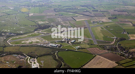 aerial view of Rufforth Airfield near Wetherby, Yorkshire, UK - Stock Photo