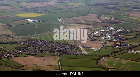 aerial view of Tockwith Airfield near Wetherby in West Yorkshire, UK - Stock Photo