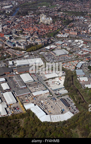 aerial view of Hazel Court, Foss Islands Retail Park and York Minster, UK - Stock Photo