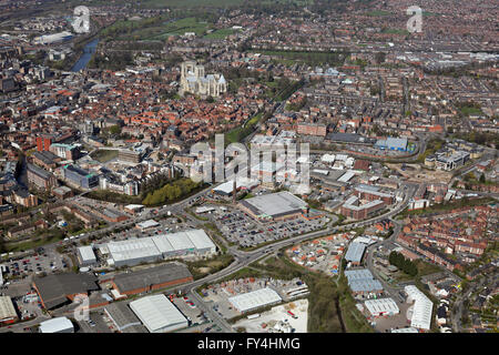 aerial view of York from the east showing James Street, Foss Islands Retail Park and York Minster, UK - Stock Photo