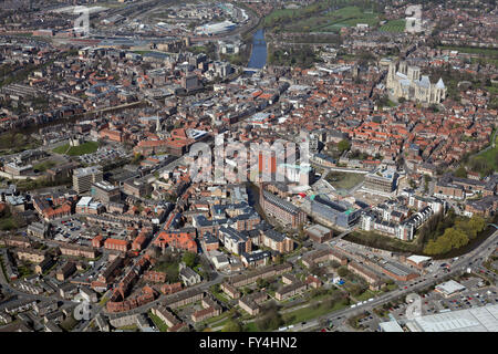 aerial view of York city centre, Yorkshire UK - Stock Photo