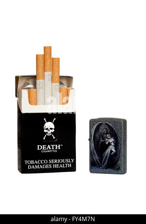 packet of death brand cigarettes and zippo lighter - Stock Photo