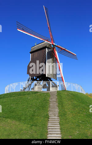 The Saint John's House Mill (1770) in Bruges, Belgium - Stock Photo