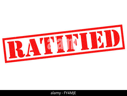RATIFIED red Rubber Stamp over a white background. - Stock Photo