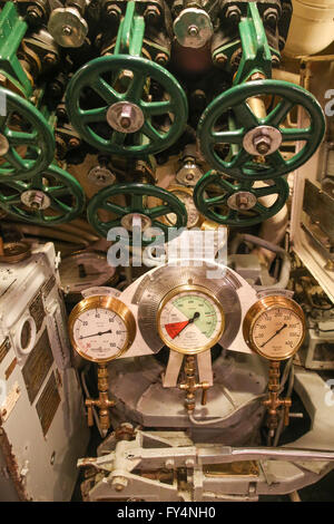 Submarine control wheels and gauges. - Stock Photo