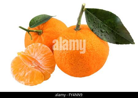 Fresh tangerines fruit isolated on a white background. - Stock Photo